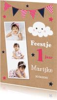 Kinderfeestjes - Kinderfeest 1 jaar fotocollage wolkje meisje - LB