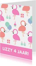 Kinderfeestjes - Kinderfeestje kaart met feestende flamingo's