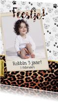 Kinderfeestje kaart panterprint voor kleine feestbeesten