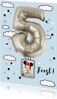 Kinderfeestjes - Kinderfeestje luchtballon 5 jaar zilverkleurig