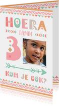 Kinderfeestjes - Kinderfeestje uitnodiging 3 jaar tribal stijl meisje