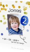 Kinderfeestjes - Kinderfeestje uitnodiging ballon blauw