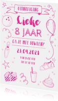 Kinderfeestjes - Kinderfeestje uitnodiging bowlen roze
