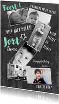 Kinderfeestjes - Kinderfeestje uitnodiging collage 2 jaar blauw