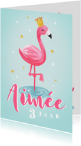 Kinderfeestjes - kinderfeestje uitnodiging hip voor meisje met flamingo