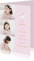 Kinderfeestjes - Kinderfeestje uitnodiging met 3 foto's en een unicorn