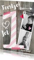 Kinderfeestjes - Kinderfeestje uitnodiging sloophout foto meisje