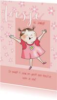 Kinderfeestjes - Kinderfeestje - vrolijk meisje in roze jurkje
