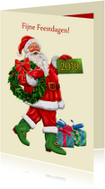 Kerstkaarten - Klassieke kerstkaart met kerstman en kerstkrans