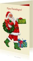 Kerstkaarten - Klassieke kerstkaart met kerstman - HE
