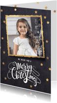 Kerstkaarten - Klassieke zwarte kerstkaart gouden lijst
