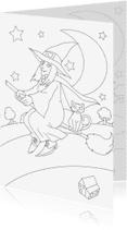 Kleurplaat kaarten - kleurplaatkaart de vliegende heks