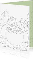 Kleurplaat kaarten - Kleurplaatkaart Dino baby - MT