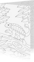 Kleurplaat kaarten - kleurplaatkaart Kleine dino
