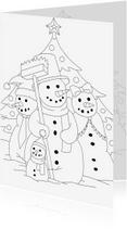 Kleurplaat kaarten - kleurplaatkaart sneeuwpop famillie- MT