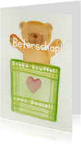 Beterschapskaarten - Knuffelbeer met een dekentje