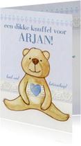 Beterschapskaarten - Knuffelbeer met een hartje beterschapkaart