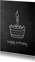 Verjaardagskaarten - krijt cake