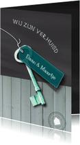 Verhuiskaarten - Krijt Hout Sleutel label txt