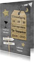 Uitnodigingen - krijtbord en naamkaartje b