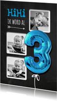Kinderfeestjes - Krijtbord HiHi Ballon Drie Blauw - SG