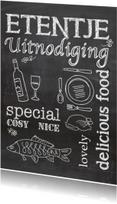 Uitnodigingen - Krijtbord uitnodiging etentje