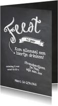 Uitnodigingen - Krijtbord uitnodiging verjaardagsfeest