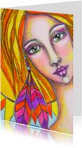 Kunstkaarten - Kunst Meisje met veren - AS