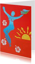 Kunstkaarten - Kunst, vrouwfiguur met bloemen