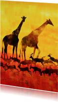 Kunstkaarten - Kunstkaart giraffen en antilopes