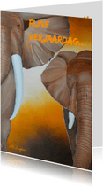 Dierenkaarten - Kunstkaart met olifanten, gefeil
