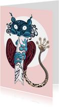 Kunstkaarten - Kunstkaart van een tarsier diertje met doolhof print