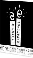 Kerstkaarten - Label kaarsen zwart - BK