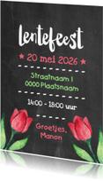 Communiekaarten - Lentefeest krijt bloemen - DH