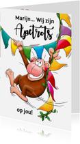Geslaagd kaarten - Leuke geslaagd kaart apetrots met aap en vlaggen