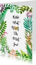 Liefde kaarten - Leuke liefde kaart met blaadjes en hartje in tekst