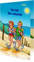 Vakantiekaarten - Leuke vakantiekaart met wandelaars die gaan kamperen
