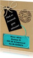Verhuiskaarten - Leuke verhuiskaart met touw op verhuisdoos zonder foto