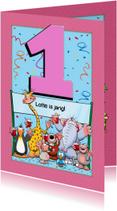 Verjaardagskaarten - Leuke verjaardagkaart 1 jaar meisje roze