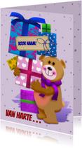 Verjaardagskaarten - Leuke verjaardagskaart beer die pakjes draagt voor de jarige