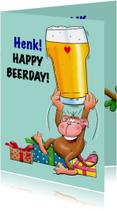 Verjaardagskaarten - Leuke verjaardagskaart met aap en een biertje voor de jarige