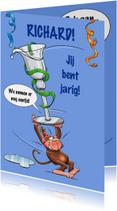 Verjaardagskaarten - Leuke verjaardagskaart met aapje en borreltje