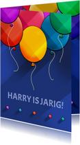 Verjaardagskaarten - Leuke verjaardagskaart met ballonnen op blauw