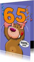 Verjaardagskaarten - Leuke verjaardagskaart met beer en losse cijfers leeftijd