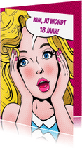 Verjaardagskaarten - Leuke verjaardagskaart met grafisch kopje van meisje