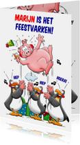 Verjaardagskaarten - Leuke verjaardagskaart met grappig feestvarken en pinguïns