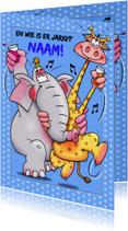 Verjaardagskaarten - Leuke verjaardagskaart met grappige giraf en olifant