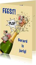 Verjaardagskaarten - Leuke verjaardagskaart met muizen en fles champagne