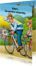 Verjaardagskaarten - Leuke verjaardagskaart met wielrenner in een mooie omgeving