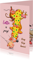 Verjaardagskaarten - Leuke verjaardagskaart voor meisje dat 1 jaar wordt